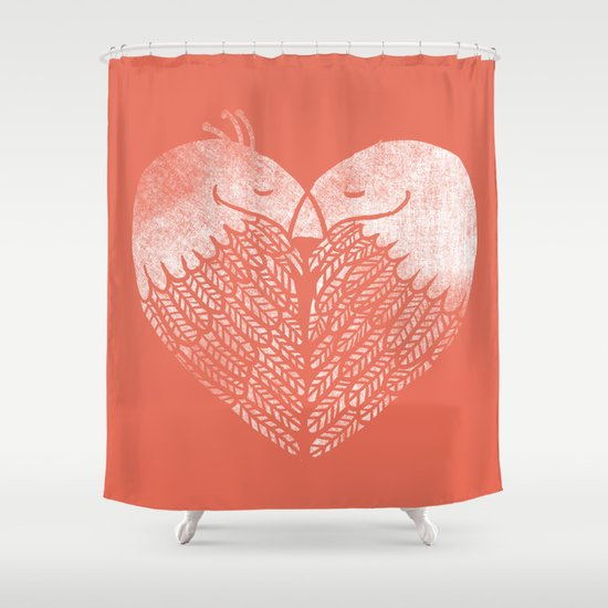 Love birds sitting on a tree Shower Curtain