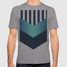 Blue Gradient Stripes Mens Fitted Tee Athletic Grey SMALL