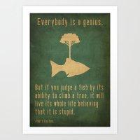 fish Art Prints featuring Einstein by Tracie Andrews