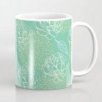 Pastel Peony and Leaf Pattern Design  Mug