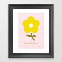 Happy little flower Framed Art Print