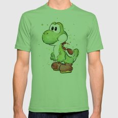 Yoshi Watercolor Mario Mens Fitted Tee Grass SMALL
