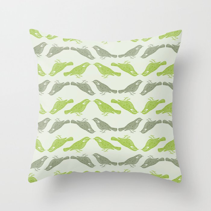 Small Green Throw Pillow : Little Bird (green) Throw Pillow by The Wallpaper Files Society6