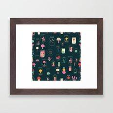 Happy terrarium pattern Framed Art Print