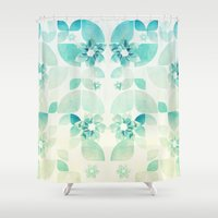 Flowers and Snowflakes Pattern Shower Curtain