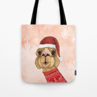 Alpaca Christmas Tote Bag