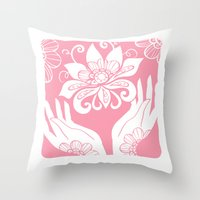 Pink Lotus And Hands Throw Pillow