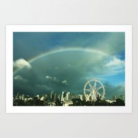 Rainbow over Melbourne Art Print