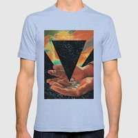 disruption of his world... (Paradise) Mens Fitted Tee Tri-Blue SMALL