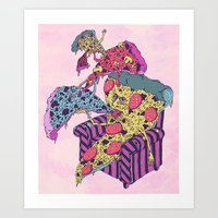 Pizza Eating Pizza - Pink Edition Art Print