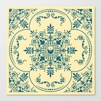 Decorative Pattern in Creme and Blue Canvas Print