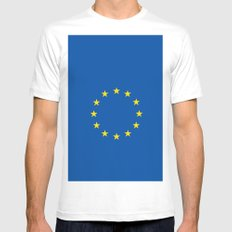 European's flag White SMALL Mens Fitted Tee