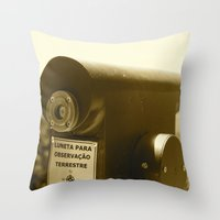 Spyglass to land observation Throw Pillow