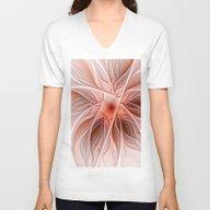 Flower Decoration Unisex V-Neck