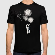 Bunny and Dandelion Bouquet SMALL Mens Fitted Tee Black
