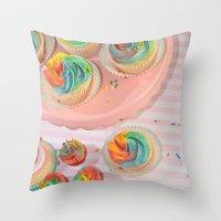 rainbow cupcakes Throw Pillow