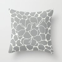 Hibiscus Animal: Gray Throw Pillow