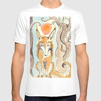 Whimsical Fox Mens Fitted Tee White SMALL