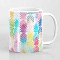 Hawaiian Pineapple Pattern Tropical Watercolor Mug