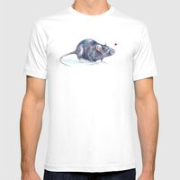 Rat love Mens Fitted Tee White SMALL