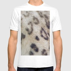Snow Leopard SMALL White Mens Fitted Tee