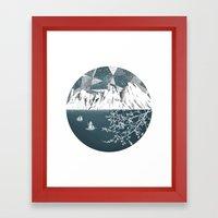 Mountain Print , Navy Bl… Framed Art Print