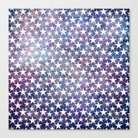 White stars on bold grunge blue background Canvas Print