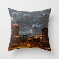 Night At Boston Harbor Throw Pillow