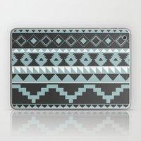 Aztec Pattern 2 Gray & Teal Laptop & iPad Skin