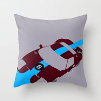 Orange Notch - Ford GT40 Race Car Throw Pillow
