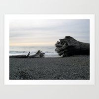 Logs on La Push Beach Art Print