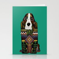Basset Hound jade Stationery Cards