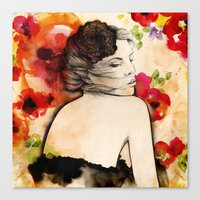 Lucy in flower fields Canvas Print