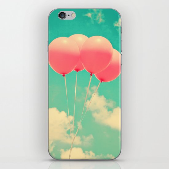 Balloons in the sky (pink ballons in retro blue sky) iPhone & iPod Skin