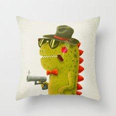 Dino bandito (olive) Throw Pillow