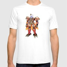 Mecha Owl White Mens Fitted Tee SMALL