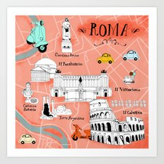 Roma! Map of Rome Art Print