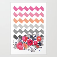 Colourful Flowers And Zi… Art Print