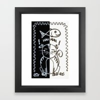 Cat (Black & White) Framed Art Print