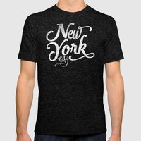 New York City vintage typography Mens Fitted Tee Tri-Black SMALL