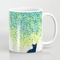 Cat in the garden under willow tree Mug