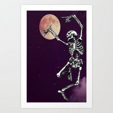 Skeleton & Moon Art Print