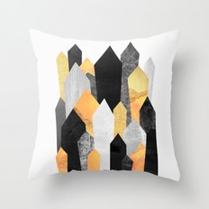 Black & Yellow Crystals Throw Pillow