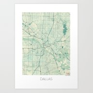 Dallas Map Blue Vintage Art Print
