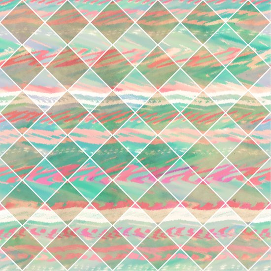 Summer Checkers | Girly Modern Pastel Geometric Diamond Shapes Art Print