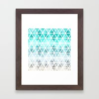 Teal blue ombre geometric triangles pattern  Framed Art Print