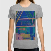 Industrial Abstract Blue 2 Womens Fitted Tee Athletic Grey SMALL