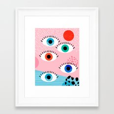 Noob - eyes memphis retro throwback 1980s 80s style neon art print pop art retro vintage minimal Framed Art Print