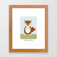 F is for Fox - Woodland Animals Framed Art Print