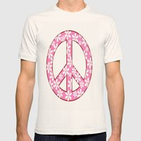 Peace Sign With Flowers In Pink Mens Fitted Tee Natural SMALL